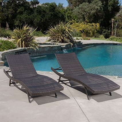 Eliana Outdoor Brown Wicker Chaise Lounge Chairs In Well Known Amazon: Eliana Outdoor Brown Wicker Chaise Lounge Chairs (Set (View 3 of 15)