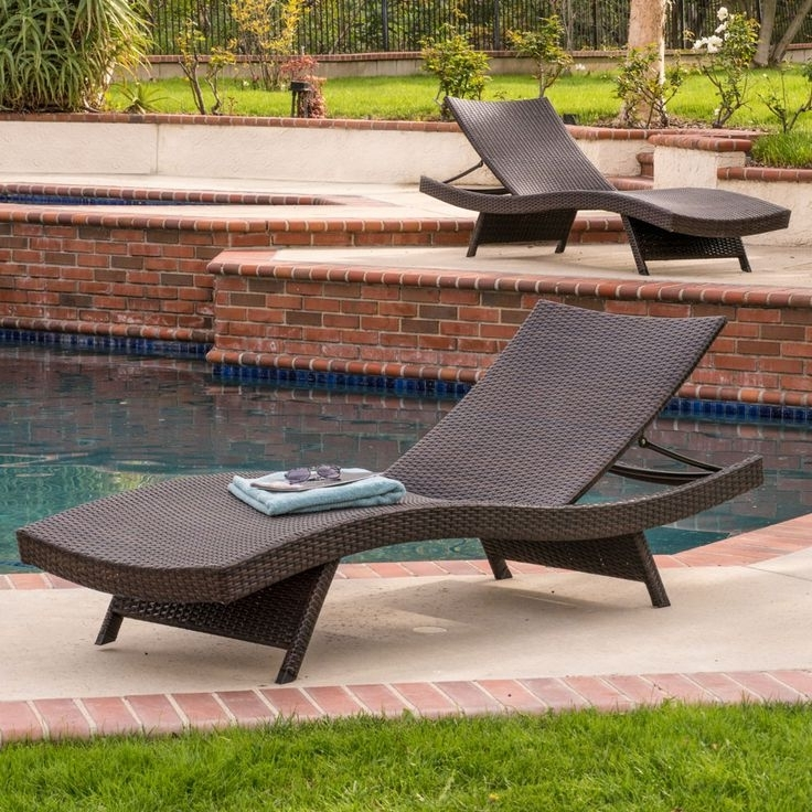 Eliana Outdoor Brown Wicker Chaise Lounge Chairs In Well Known Eliana Outdoor Brown Wicker Chaise Lounge Chairs (Set Of 2) (View 4 of 15)