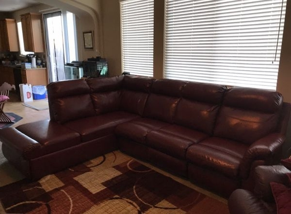 Elk Grove Ca Sectional Sofas Intended For Most Up To Date Burgundy Leather  Sectional Sofa (