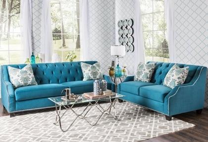 Elsira Premium Velvet 2 Piece Cerulean Blue Sofa Set (View 2 of 10)