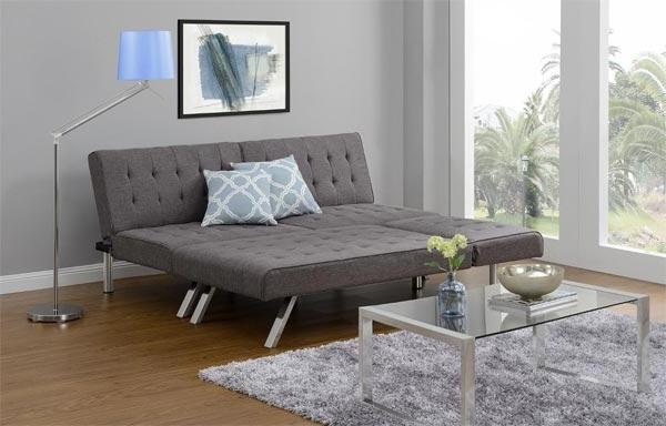 Emily Chaises With Regard To Fashionable Emily Convertible Futon – Now Available In Heather Grey! (Gallery 14 of 15)
