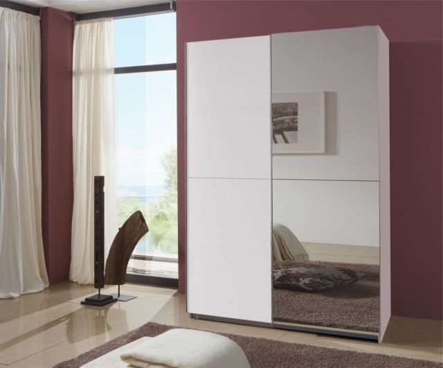 Evoque Sliding Mirrored Wardrobe In White Fol (View 3 of 15)