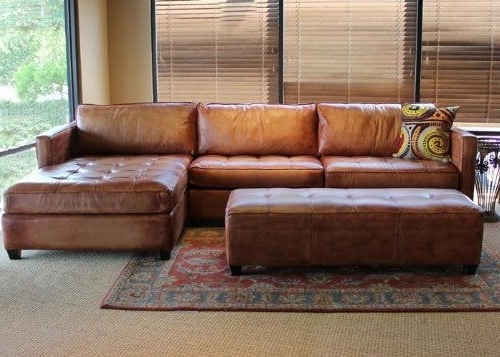 Excellent Fascinating Leather Chaise Sofa Brown Sectional With For With Latest Chaise Sofa Sectionals (View 6 of 15)