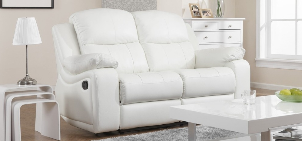 Excellent Montreal Blossom White Reclining 3 2 Seater Leather Sofa Throughout Newest 2 Seater Recliner Leather Sofas (View 4 of 10)
