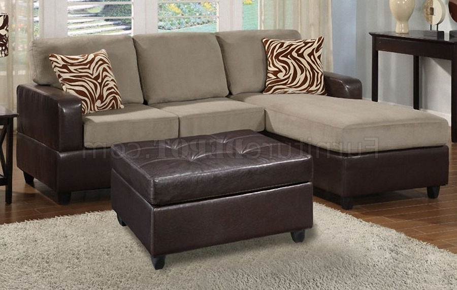 F7669 Poundex Pebble Microfiber & Faux Leather Small Sofa Ottoman For Favorite Sofas With Chaise And Ottoman (View 3 of 10)