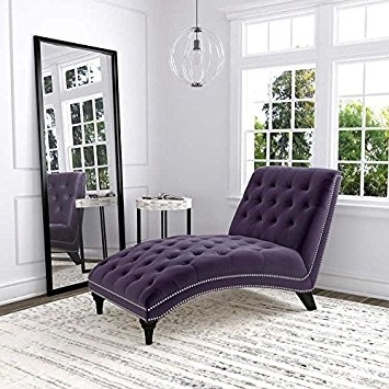 Fabric Chaise Lounge Chairs Regarding 2017 Amazon: Ursula Fabric Chaise Lounge – Purple: Kitchen & Dining (View 5 of 15)