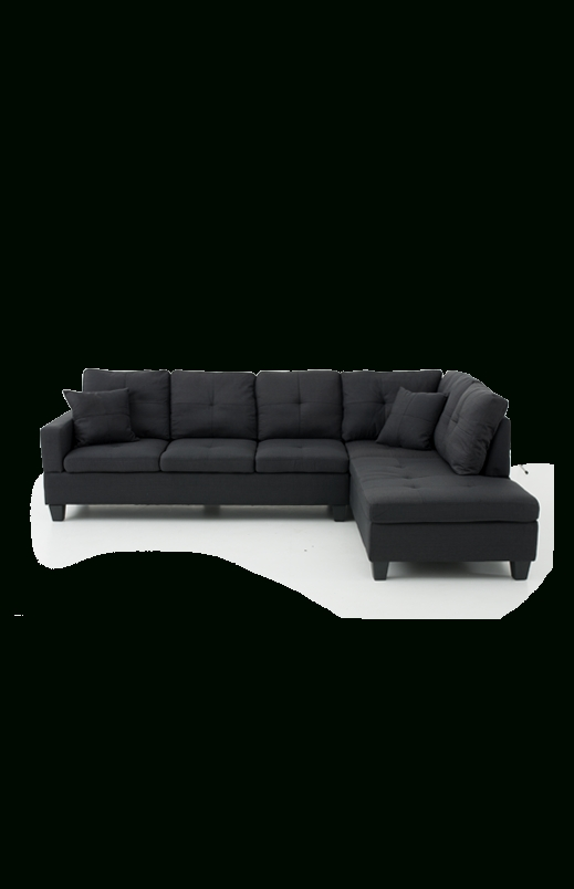 Fabric Sectional Sofa – Black (View 6 of 10)