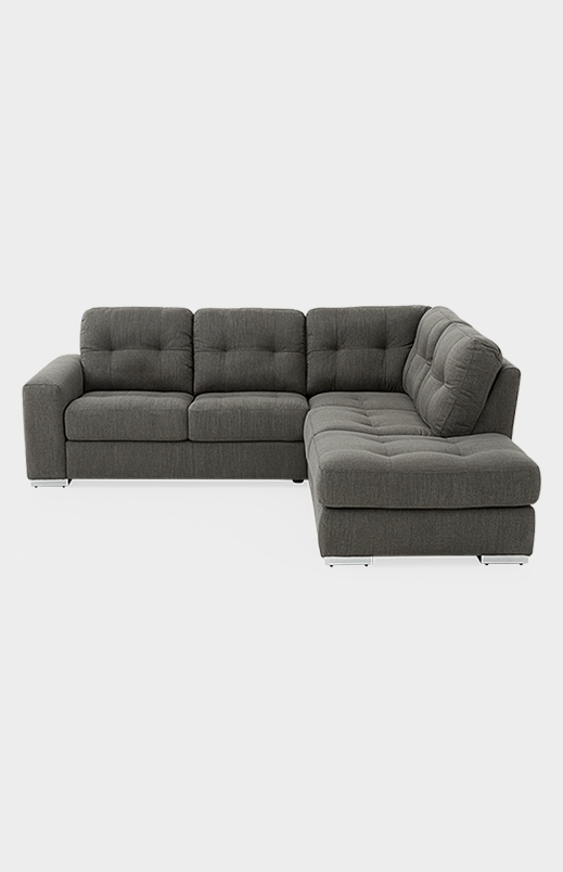 Fabric Sectional Sofa – Grey (View 7 of 10)