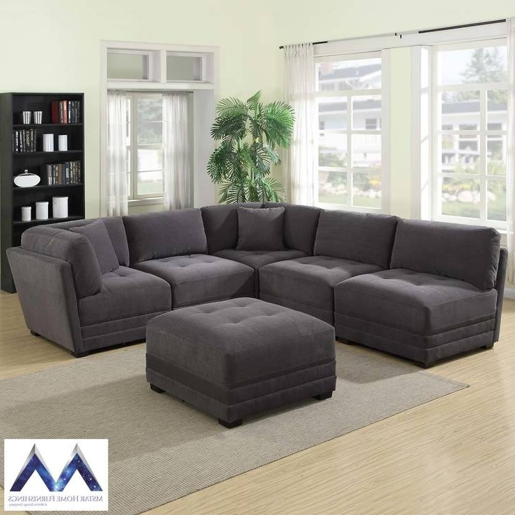 Fabric Sectional Sofas In Well Known Mstar International 6 Piece Modular Grey Fabric Sectional Sofa (View 5 of 10)