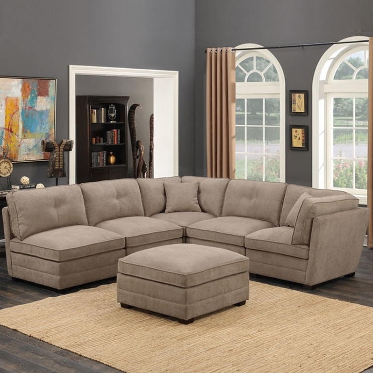 Fabric Sectional Sofas Inside Widely Used Barrington 6 Piece Modular Beige Fabric Sectional Sofa (View 6 of 10)