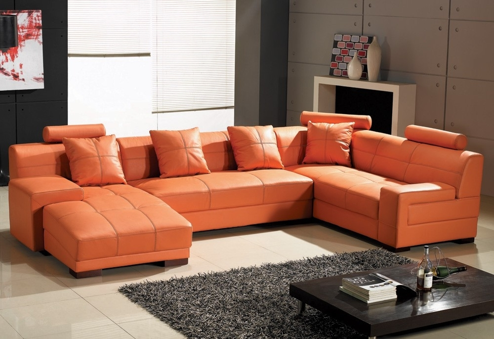 Fabulous Orange Leather Sofa Set Stunning Leather Sectional Sofa With Regard To Well Known Orange Sectional Sofas (View 3 of 10)