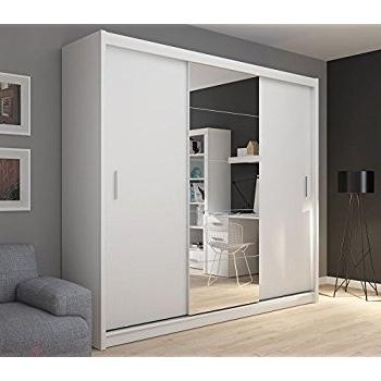 Fado Extra Large White 235 Cm Mirrored 3 Door Wardrobe Closet With Regarding 2018 White 3 Door Mirrored Wardrobes (View 10 of 15)