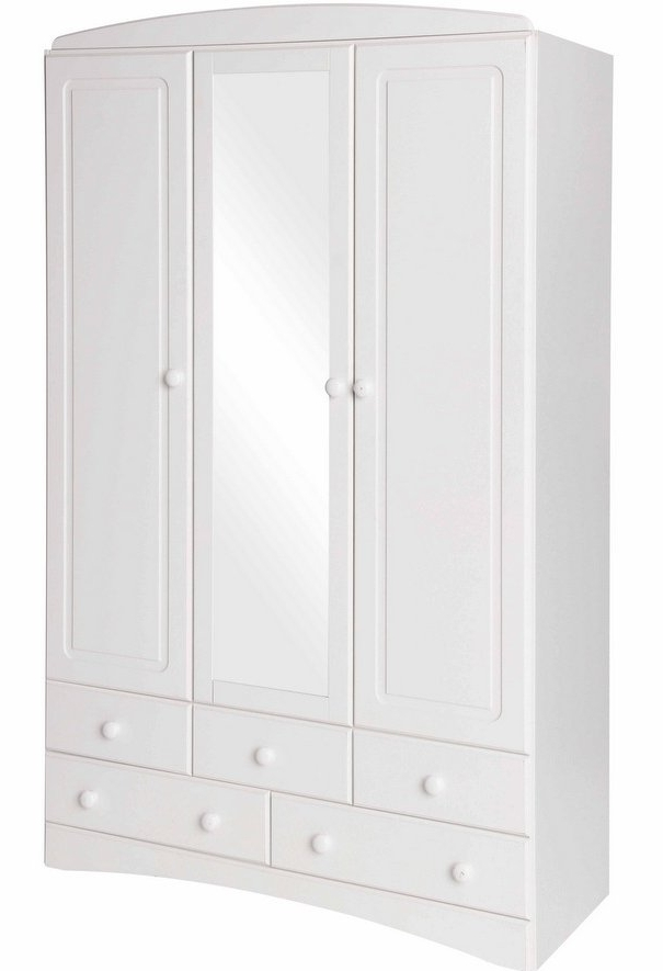 Famous 3 Door White Wardrobes With Drawers In Abdabs Furniture – Scandi White 3 Door 5 Drawer Wardrobe With Mirror (View 11 of 15)
