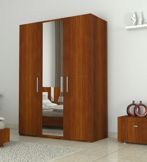 Famous 3 Doors Wardrobes With Mirror With Regard To 3 Doors Wardrobe With Mirror In Bird Cherry Finish (View 7 of 15)