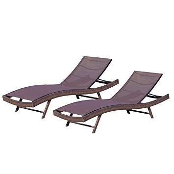 Famous Amazon: Denise Austin Home Burnham Outdoor Brown Mesh Chaise Throughout Outdoor Mesh Chaise Lounge Chairs (View 9 of 15)