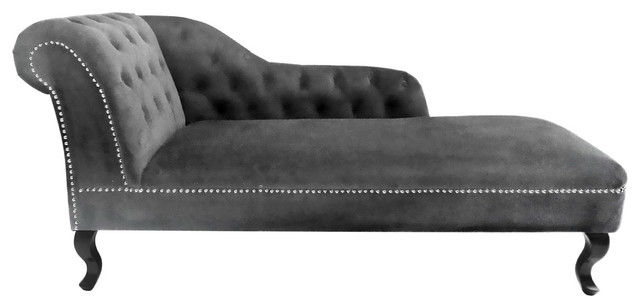 Famous Awesome Premier Housewares Regents Park Chesterfield Chaise Lounge Regarding Grey Chaise Lounges (View 3 of 15)