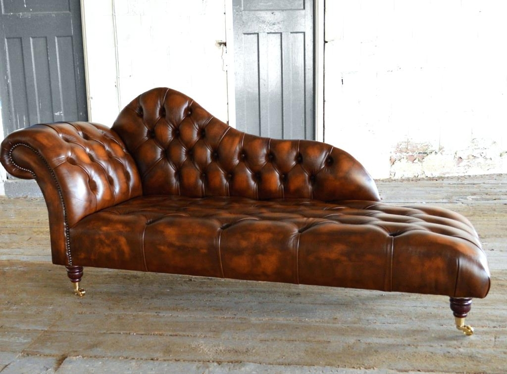 Famous Brown Leather Chaise Lounges Regarding Dark Brown Chaise Lounge Impressive Antique Leather Chesterfield (View 10 of 15)