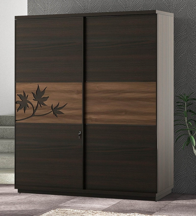 Famous Brown Wardrobes Intended For Buy Kosmo Maple 2 Sliding Doors Wardrobe In Fumed Oak Melamine (View 8 of 15)