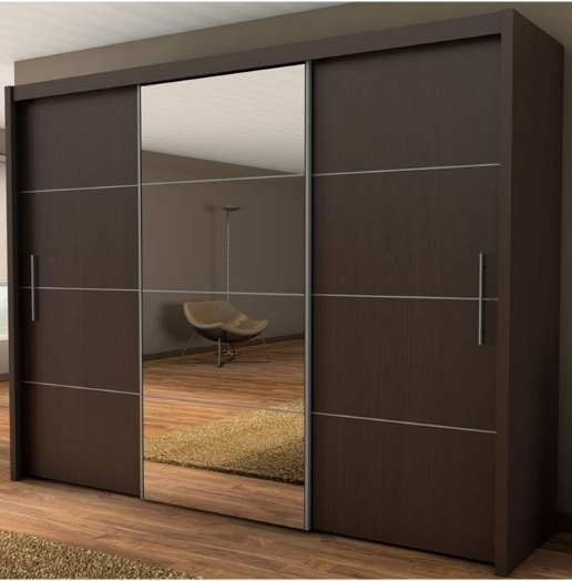 Famous Brown Wardrobes Pertaining To Wardrobe – 3 Door Sliding Wardrobe With Sliding Doors (View 4 of 15)