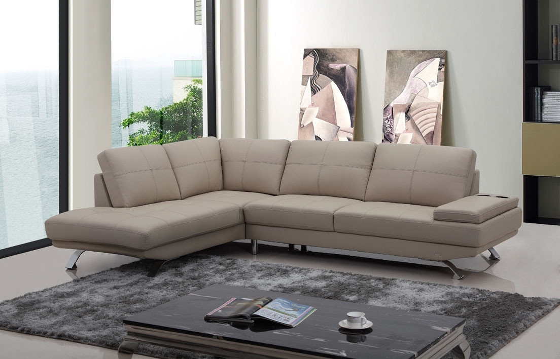 Famous Casa Knight Modern Beige Leather Sectional Sofa Intended For Beige Sectional Sofas (View 7 of 10)