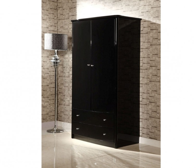 Famous Gloss Black Wardrobes With Birlea Aztec Black Gloss 2 Door 2 Drawer Combination Wardrobe (View 2 of 15)