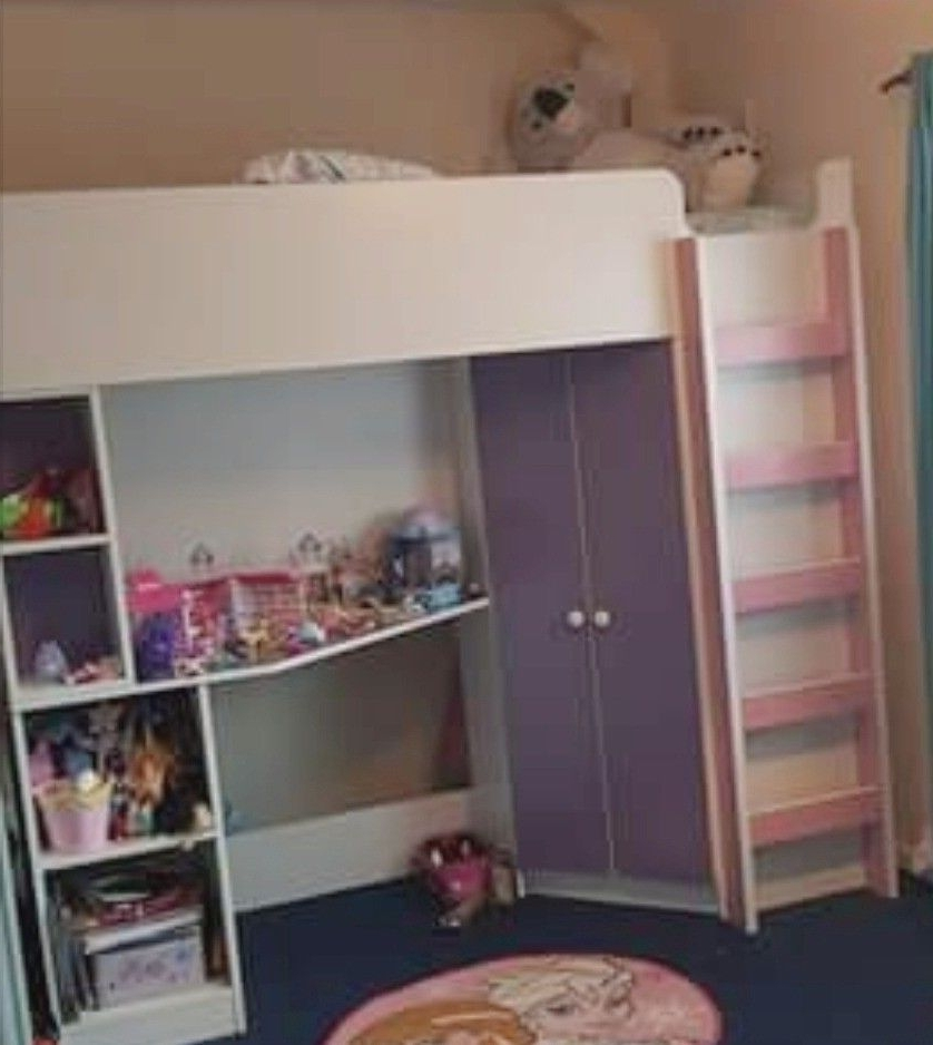 Famous Kidspace Metro High Sleeper Bed With Desk, Wardrobe, Shelves (View 2 of 15)