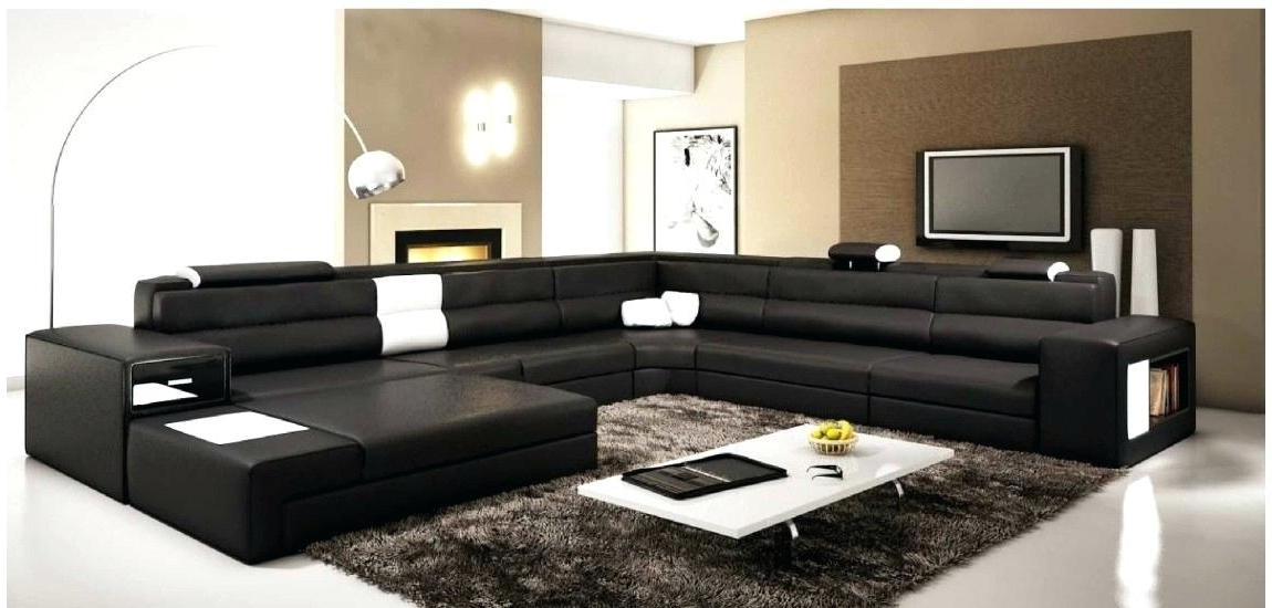 Famous Large Sectional Sofa Black Leather Large Four Piece Contemporary Within Sectional Sofas In Canada (View 2 of 10)