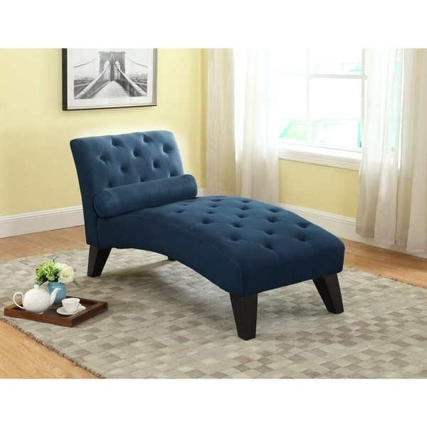 Famous Nathaniel Home Mila Tufted Blue Microfiber Chaise Lounge – Free Regarding Blue Chaise Lounges (View 9 of 15)
