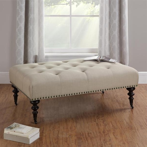 Famous Ottomans With Wheels Throughout Attractive Ottoman With Wheels Avenue Greene Winston Button Tufted (View 8 of 10)