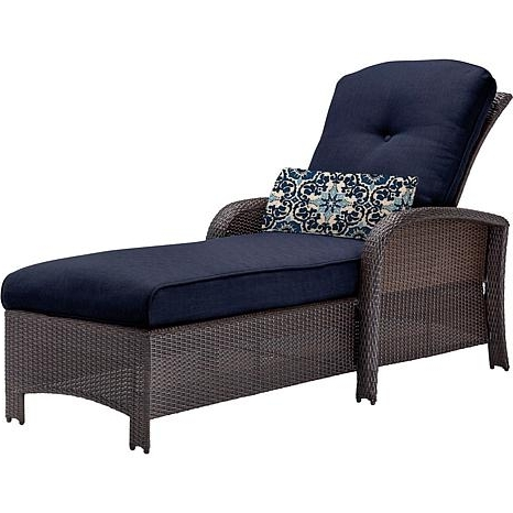 Famous Outdoor Chaise Lounges Inside Strathmere Outdoor Chaise Lounge Chair – Navy Blue –  (View 2 of 15)