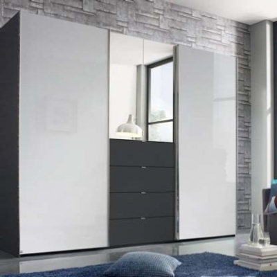 Famous Rauch Baylando Combi Sliding 2 Hinged Doors In High Polish Wardrobe Intended For Wardrobes With 2 Sliding Doors (View 10 of 15)