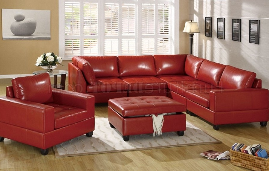 Famous Red Bonded Leather 5Pc Modular Sectional Sofa W/storage Ottoman In Red Leather Sectional Sofas With Ottoman (View 1 of 10)