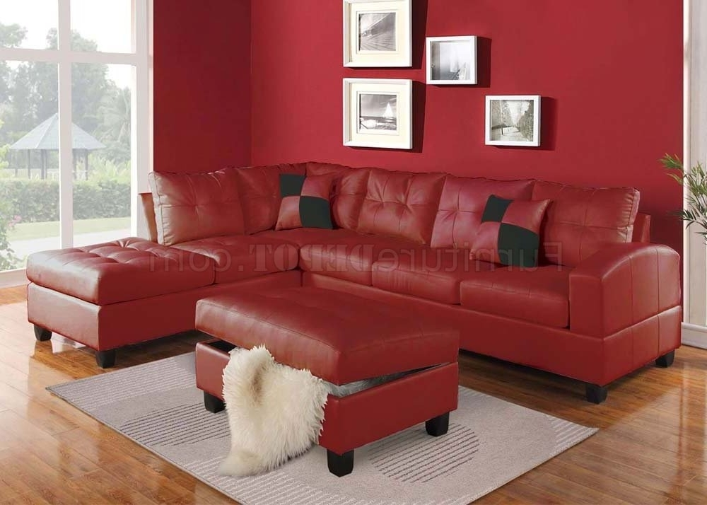 Famous Red Leather Sectionals With Ottoman For Beautiful Red Leather Sectional Sofa With Chaise Photos (View 2 of 10)