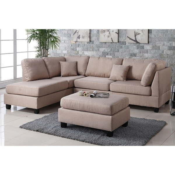 Famous Sectional Sofas With Ottoman With Regard To Pistoia 3 Piece Sectional Sofa With Ottoman Upholstered In Fabric (View 2 of 10)