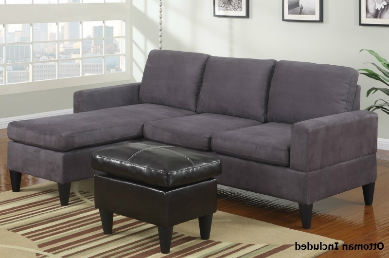 Famous Sofas With Reversible Chaise Lounge Regarding Grey Fabric Sectional Sofa And Ottoman – Steal A Sofa Furniture (View 4 of 15)