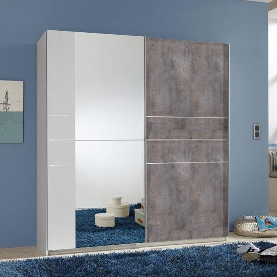 Famous Stream Sliding Wardrobe In Alpine White With Concrete Inside Coloured Wardrobes (View 4 of 15)