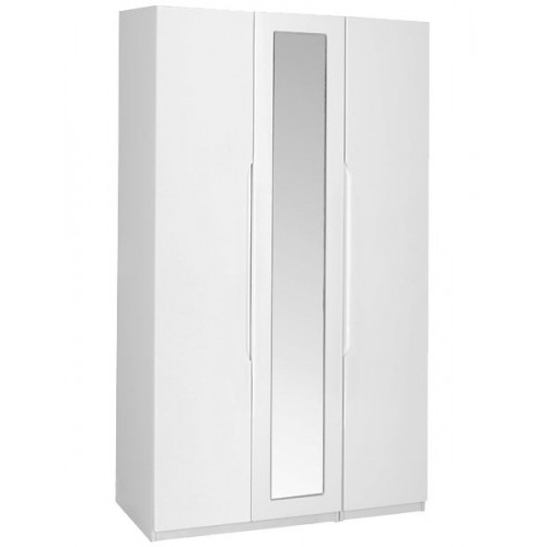 Famous Tall 3 Door Wardrobe With Mirror – White With White 3 Door Wardrobes With Mirror (View 12 of 15)