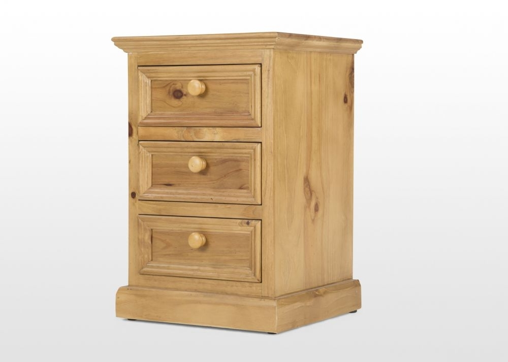 Famous Three Drawer Natural Pine Bedside Locker – Thomson – Ez Living Inside Natural Pine Wardrobes (View 4 of 15)