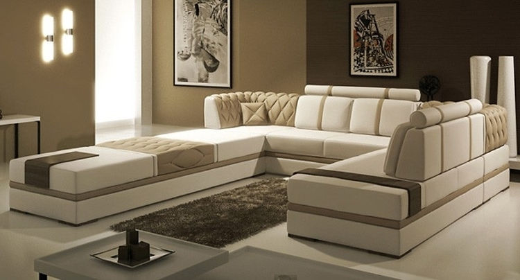 Famous Tosh Furniture Manhattan Leather Sectional Sofa In Taupe Flap Regarding Customizable Sectional Sofas (View 7 of 10)