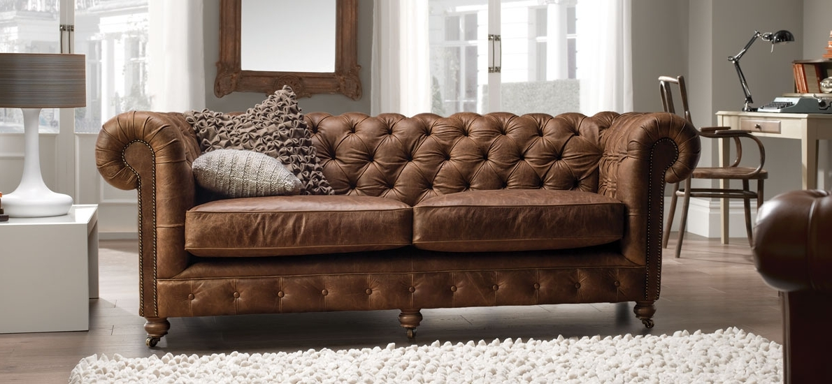 Famous Vintage Chesterfield 2 Seater Leather Sofa (View 1 of 10)