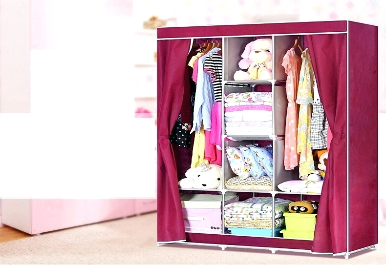 Famous Wardrobes ~ Fabric Wardrobe Storage Boxes Single Double Canvas Intended For Double Canvas Wardrobes Rail Clothes Storage (View 12 of 15)