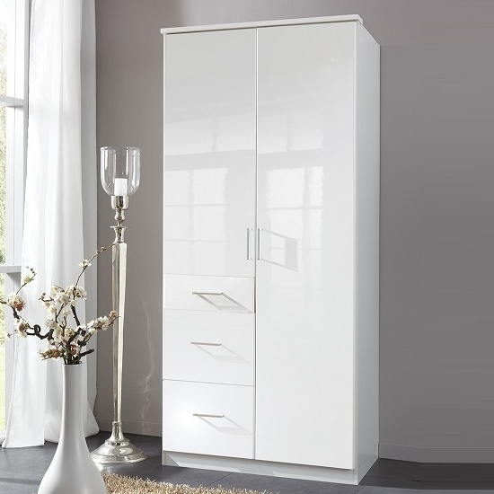 Famous White High Gloss Wardrobes With Regard To Alton Corner Wardrobe In High Gloss Alpine White With (View 3 of 15)