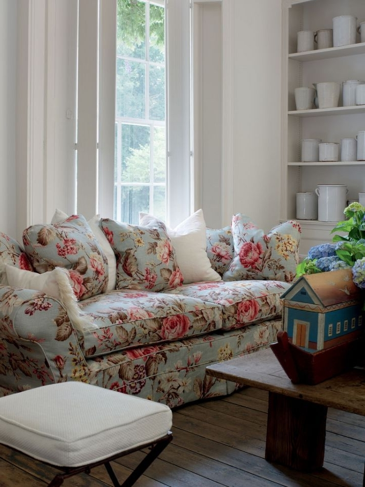 Famous Yellow Chintz Sofas Inside Chintz Couch English Country English Cottage Ironstone Floral Sofa (View 5 of 10)