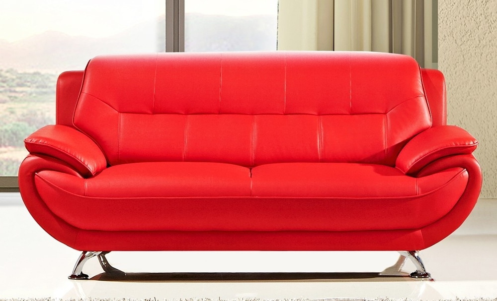 Fancy Bright Red Leather Sofa 67 With Additional Office Sofa Ideas Intended For Well Known Red Leather Sofas (View 6 of 10)