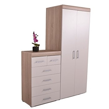 Fashionable 2 Door Wardrobe & 4+2 Chest Of Drawers In White & Oak Bedroom Throughout Cheap Wardrobes And Chest Of Drawers (View 9 of 15)