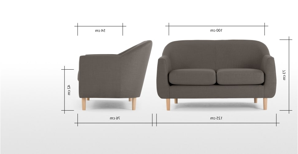 Fashionable 2 Seater Sofas Regarding Tubby 2 Seater Sofa, Pewter Grey (View 2 of 10)