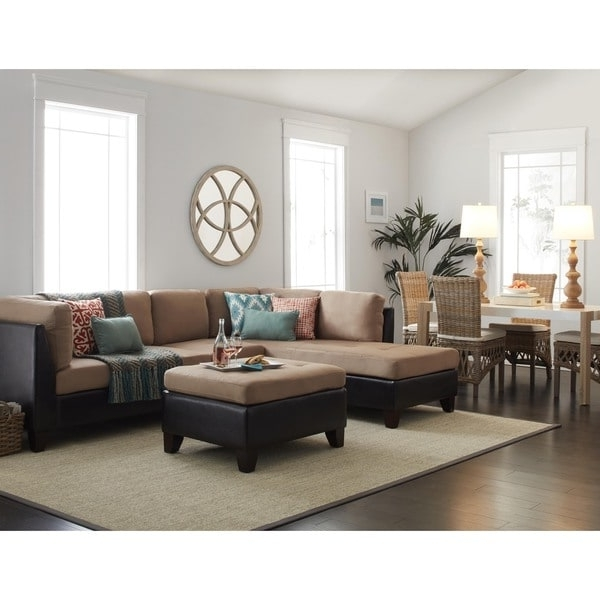 Fashionable Abbyson Charlotte Beige Sectional Sofa And Ottoman – Free Shipping Throughout Charlotte Sectional Sofas (View 3 of 10)