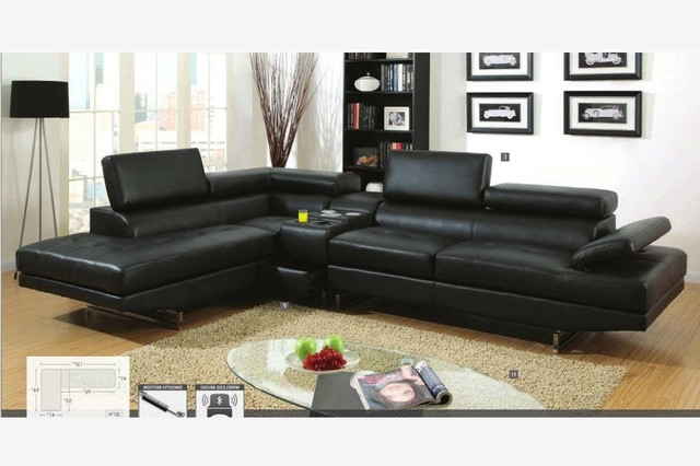 Fashionable Amazing Sacramento Black Leather Sectional Sofa With Left Facing Intended For Black Leather Sectionals With Chaise (View 9 of 15)