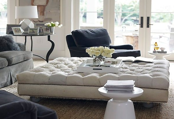 Fashionable An Oversized Tufted Ottoman With Plush Velvet Sofas With Modern Inside Sofas With Large Ottoman (View 1 of 10)