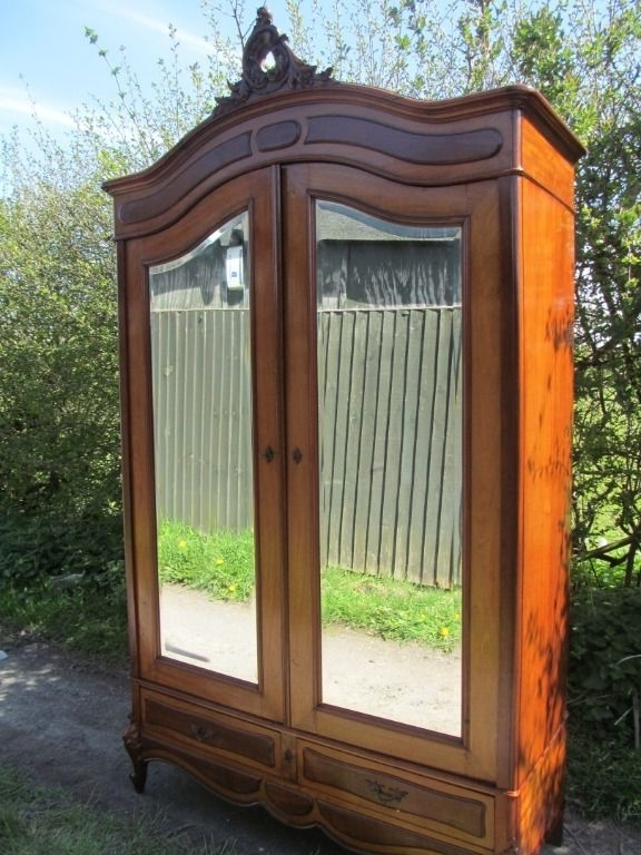 Fashionable Antique French Mahogany Louis Xv Style 2 Door Mirrored Armoire Throughout French Style Armoires Wardrobes (View 4 of 15)